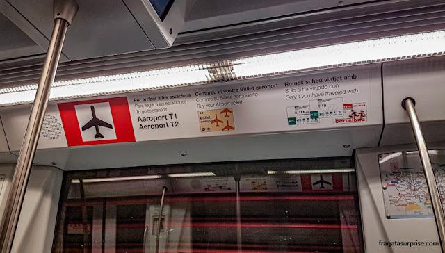 Metrô para o aeroporto de Barcelona