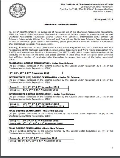 CA Exams Nov 2019 Schedule