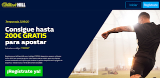 William Hill hasta el doble 200€ en Apuestas Deportivas
