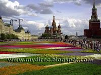Цветы на Красной площади перед ГУМом