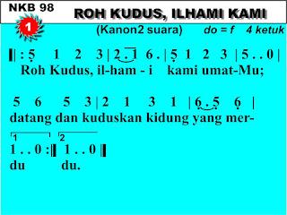 Lirik dan Not NKB 98 Roh Kudus, Ilhami Kami