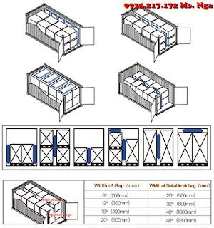cách chèn túi khí chèn hàng container