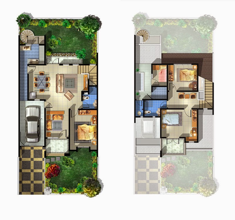 3 Contoh Denah Rumah Minimalis Modern Terbaru: Denah Rumah Minimalis Type 54 Terbaru 2015