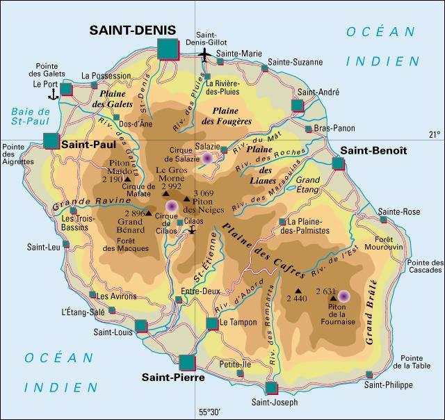Carte de l'Ile de la Réunion
