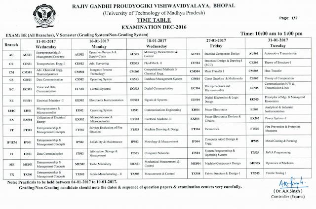 RGPV B.E 5th Semester Grading System Examination Time Table 2017