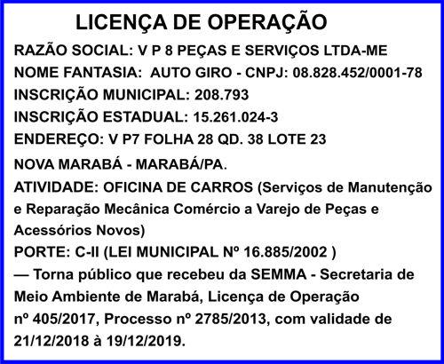 LICENÇA DE OPERAÇÃO - MARABÁ/PA - AUTO GIRO ..