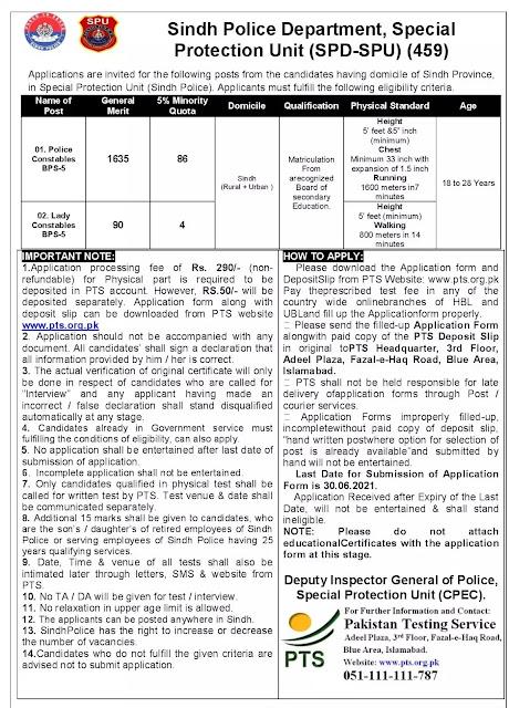 SPU Sindh Jobs 2021 - Special Protection Unit Sindh Jobs in Karachi – Jobs in Karachi 2021