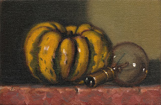 Still life oil painting of a small green and yellow pumpkin beside an incandescent light bulb.
