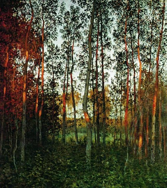 Исаак Ильич Левитан - Последние лучи солнца. Осиновый лес. 1897