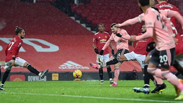 Sheffield United's Oliver Burke scoring the winner against Manchester United