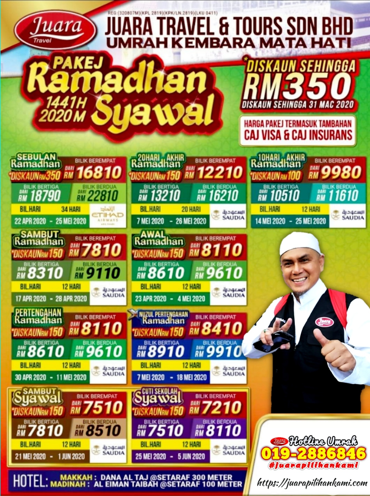 𝗞𝗘𝗠𝗕𝗔𝗥𝗔 𝗨𝗠𝗥𝗔𝗛 𝗠𝗔𝗧𝗔 𝗛𝗔𝗧𝗜 𝗜 𝗨𝗠𝗥𝗔𝗛 𝗕𝗘𝗥𝗟𝗔𝗡𝗗𝗔𝗦𝗞𝗔𝗡 𝗜𝗟𝗠𝗨 Pakej Umrah Ramadhan Syawal 2020