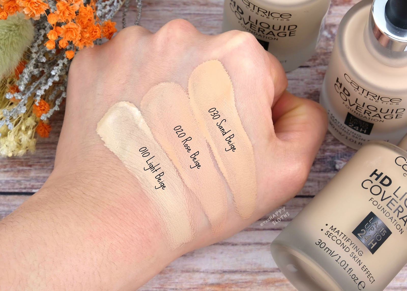 "Catrice | HD Liquid Coverage Foundation in ""010 Light Beige"", ""020 Rose Beige"" & ""030 Sand Beige"": Review and Swatches"