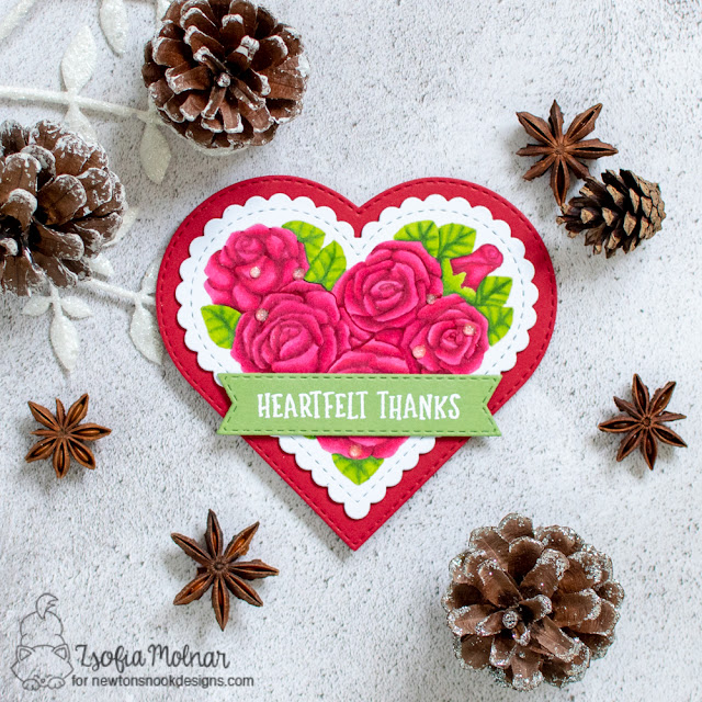 eart Shaped Thank You card by Zsofia Molnar | Heartfelt Roses Stamp set, Heart Frames Die Set and Banner Trio Die Set by Newton's Nook Designs