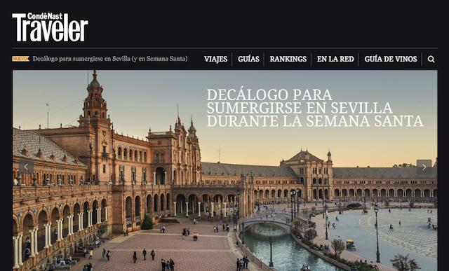 """Vista de la plaza de España de Sevilla con el texto """"Decálogo para sumergirse en Sevilla durante la Semana Santa"""""""