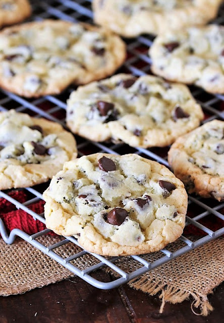 Chocolate Chip Cake Mix Cookies on Cooling Rack Image