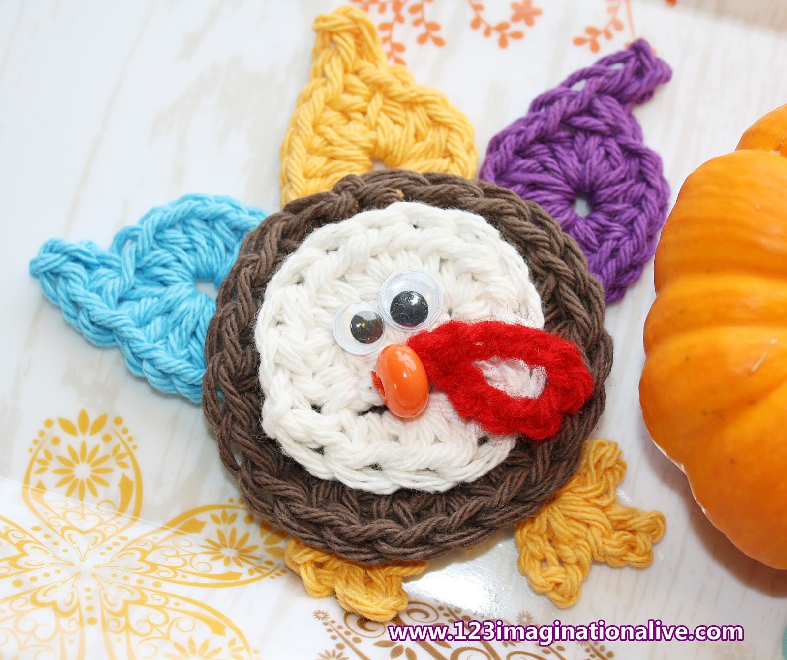123imaginationalive How To Crochet A Turkey Applique Free Pattern