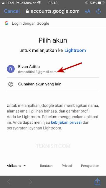 Cara daftar Lightroom dengan Google