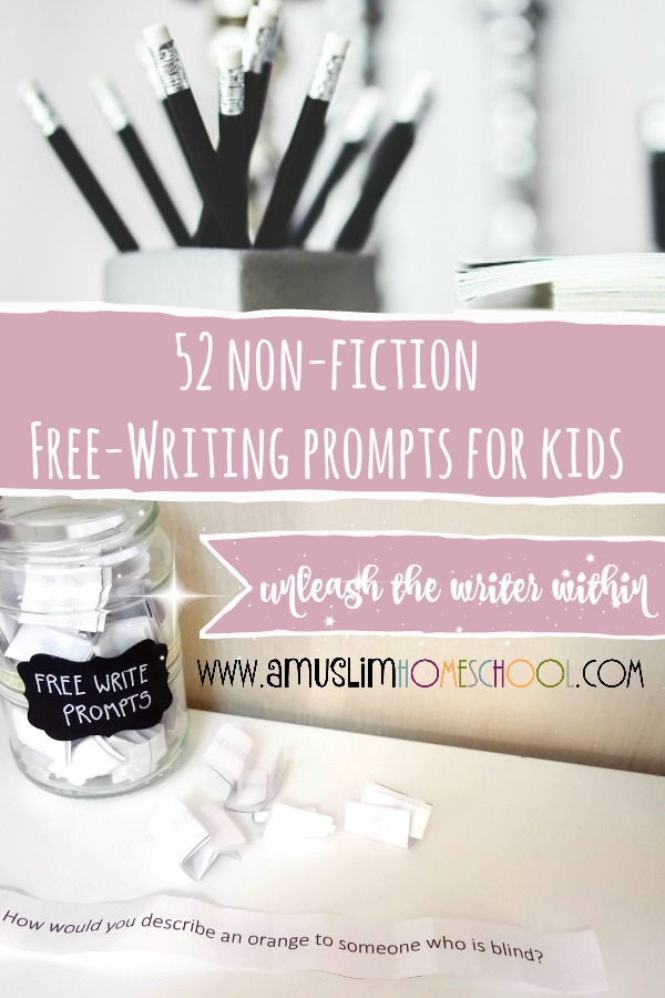 52 Non-fiction free-writing prompts for kids