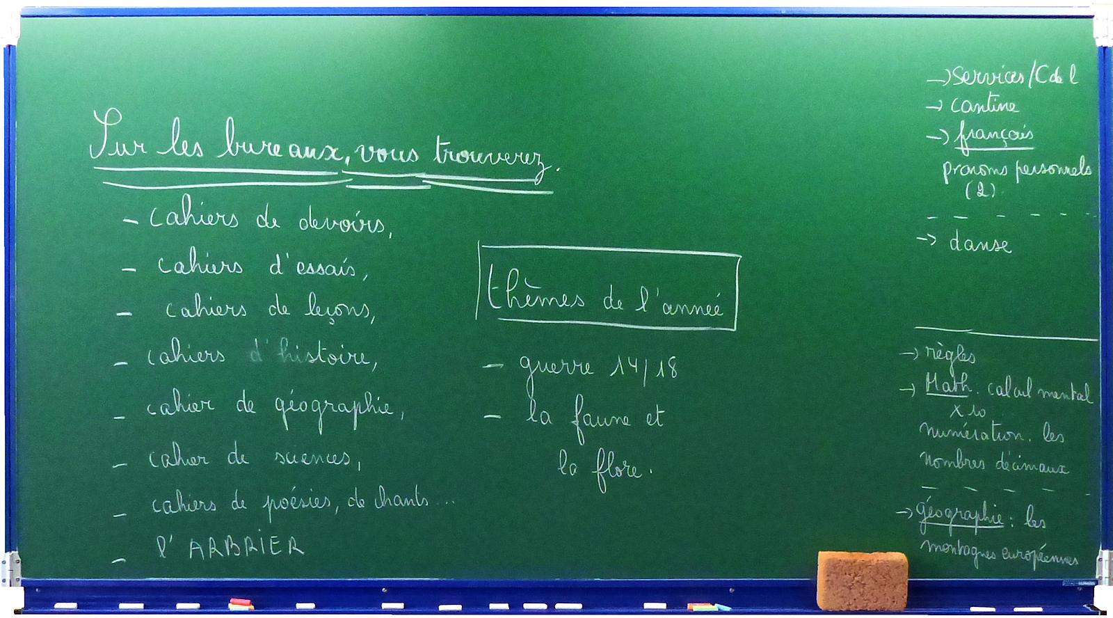 École primaire CNDI Tourcoing - Tableau Rentrée des classes