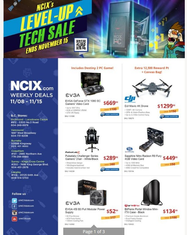 NCIX Flyer \ Coupon valid November 8 - 15, 2017 - Weekly Flyers - coupon flyer