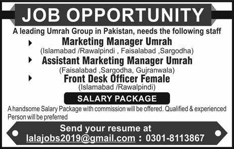 A Umrah Group required Staff in Multiple Citites