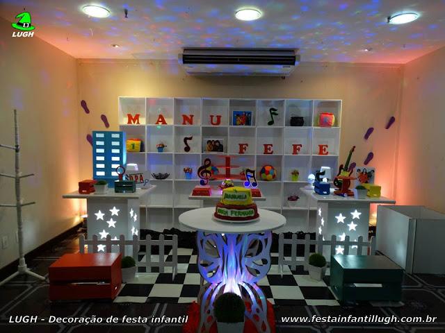 Detetives do Prédio Azul - Decoração de mesa temática D.P.A para aniversário infantil.