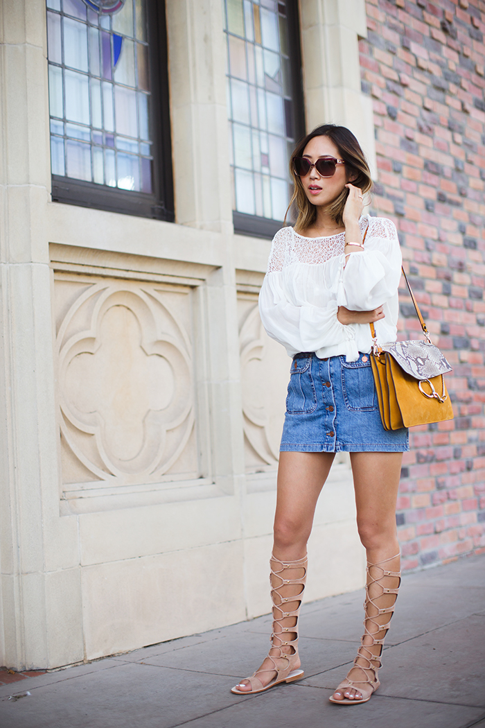 Song of Style - Zara Gladiator Sandals / Denim Button Pocket Skirt