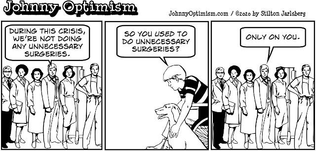 johnny optimism, medical, humor, sick, jokes, boy, wheelchair, doctors, hospital, stilton jarlsberg, coronavirus, transplant team, surgery, unnecessary