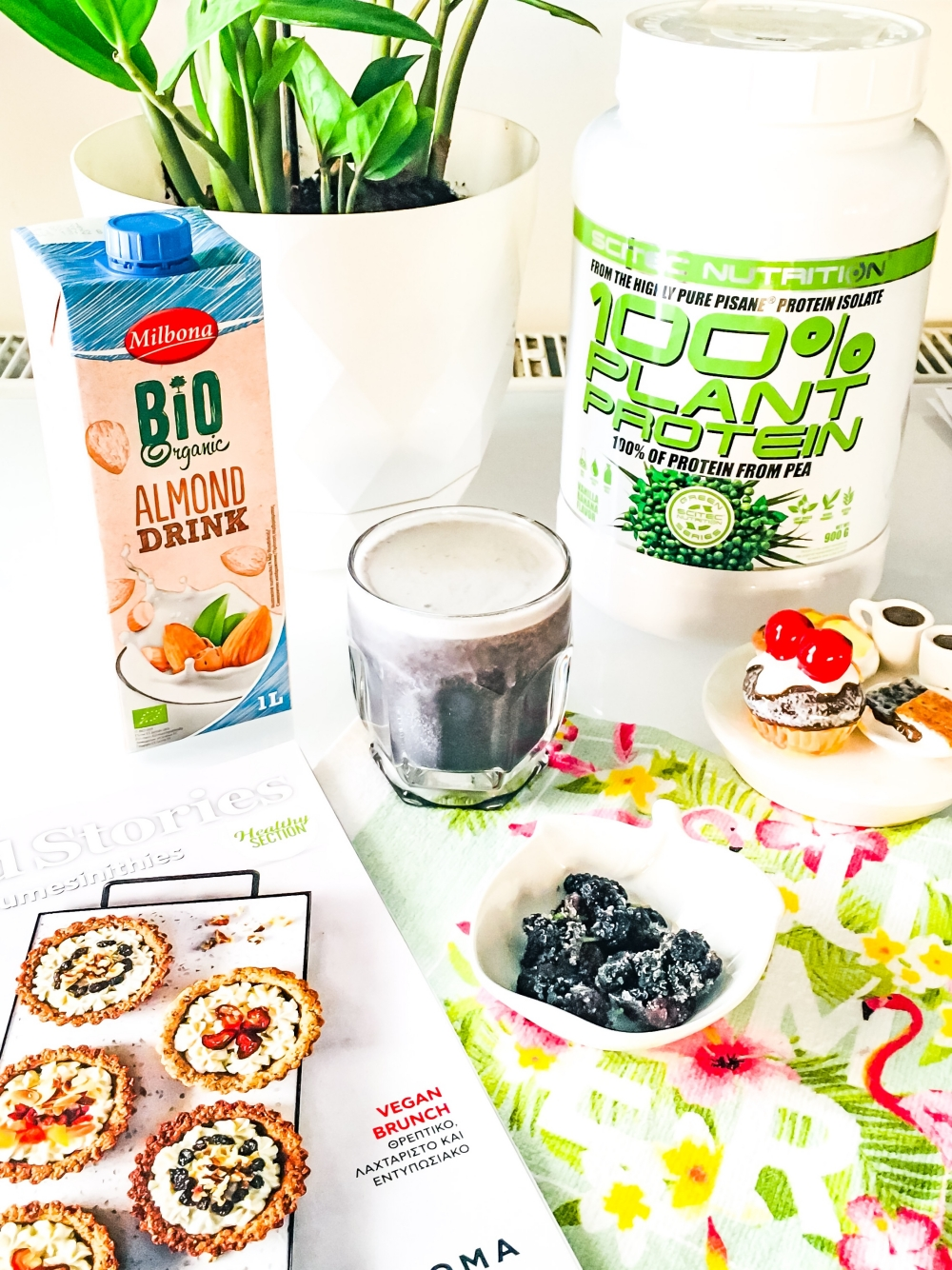 Scitec nutrition 100% plant protein; mulberry vegan protein smoothie; vegan protein shakes