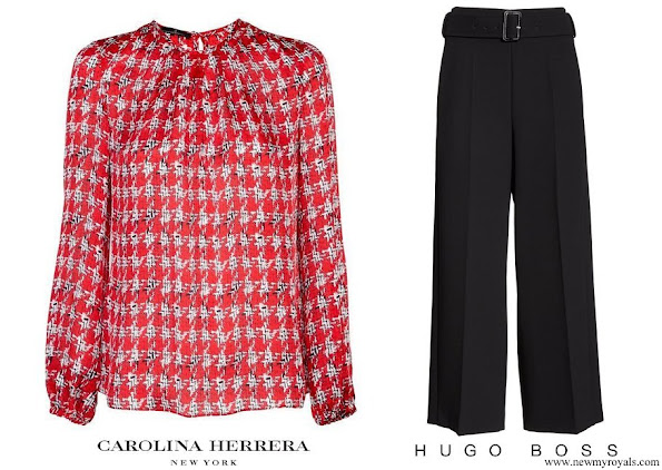 Queen Letizia wore Carolina Herrera red houndstooth blouse and Hugo Boss trousers