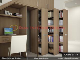 lemari tangga, lemari bawah tangga, desain lemari tangga,rak buku, desain rak buku, lemari buku, lemari tangga minimalis