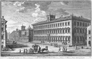 An 18th century engraving of the Palazzo Ruspoli by the Italian engraver Giuseppe Vasi