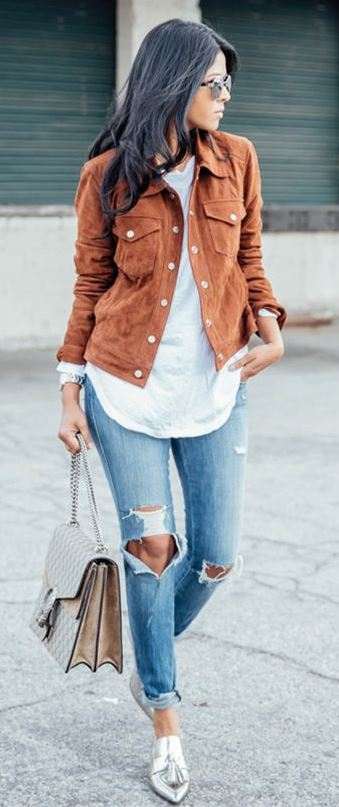 fall trends _ brown jacket + white top + bag + ripped jeans + silver loafers