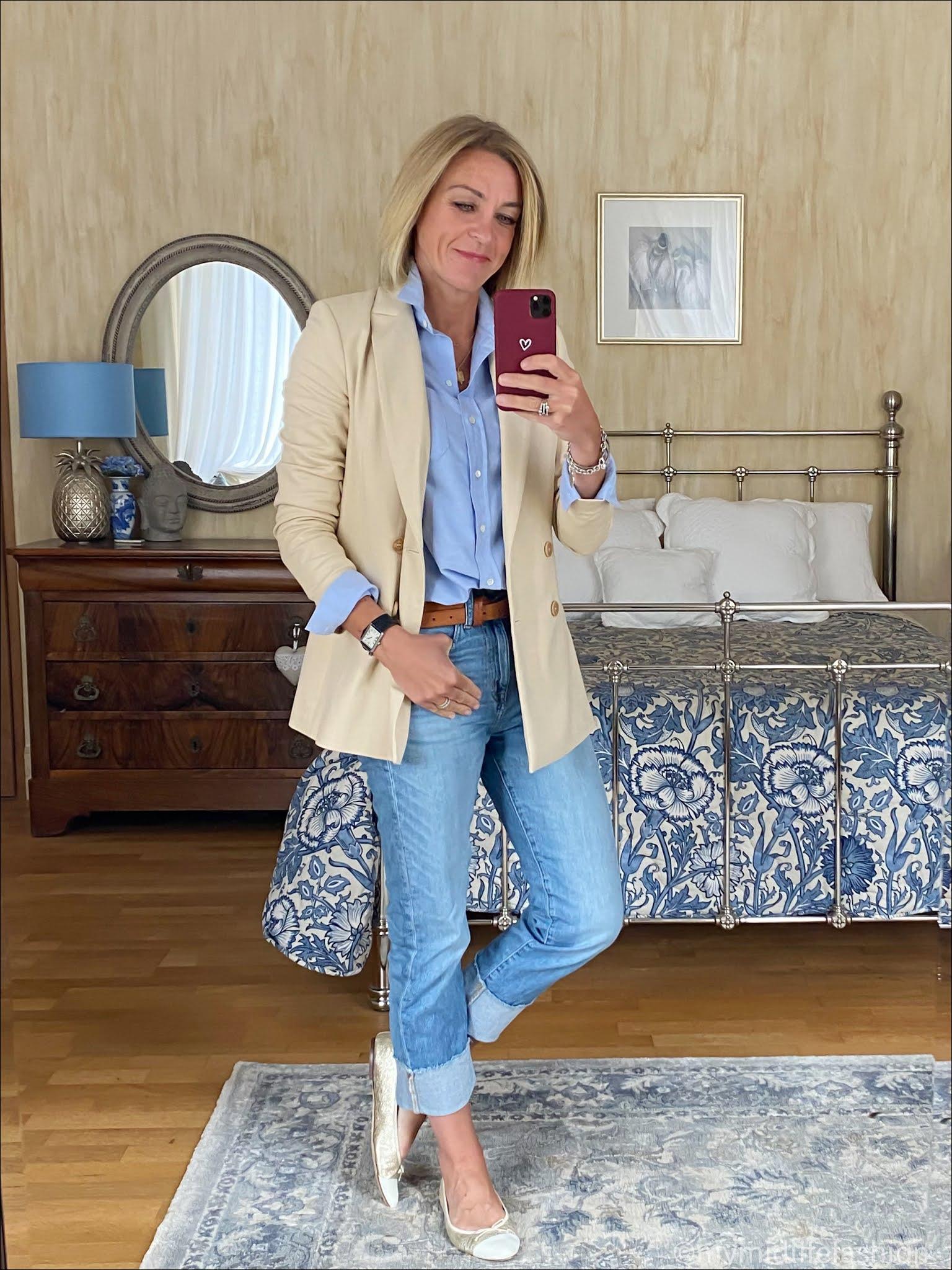 my midlife fashion, saint and Sofia Cambridge blazer, sesame tomboy shirt, Massimo Dutti leather belt, j crew turn up boyfriend jeans, j crew two tone ballet pumps