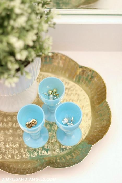 blue opaline glass, cordial glass, earring organization, jewelry organization