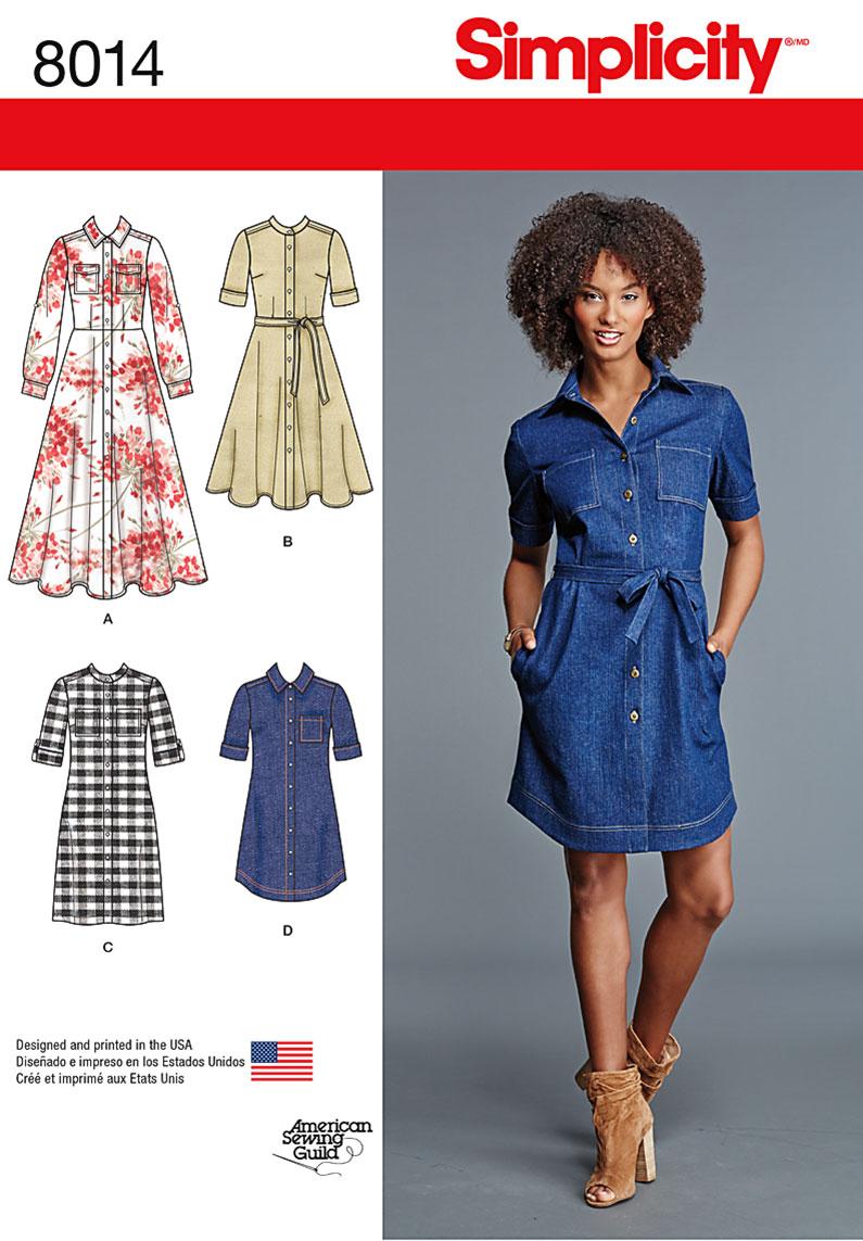 Kathy Sews Simplicity 8014 A Chambray Shirt Dress