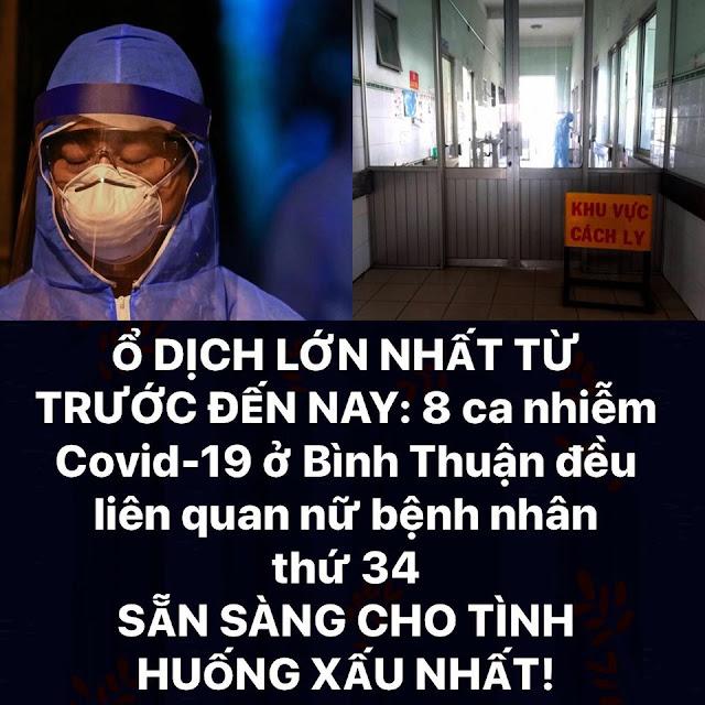 Ổ dịch lớn nhất: 8 ca nhiễm Covid-19 ở Bình Thuận đều liên quan đến nữ bệnh nhân 34