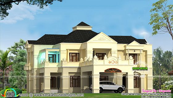May 2016 kerala home design and floor plans for Colonial style house plans kerala