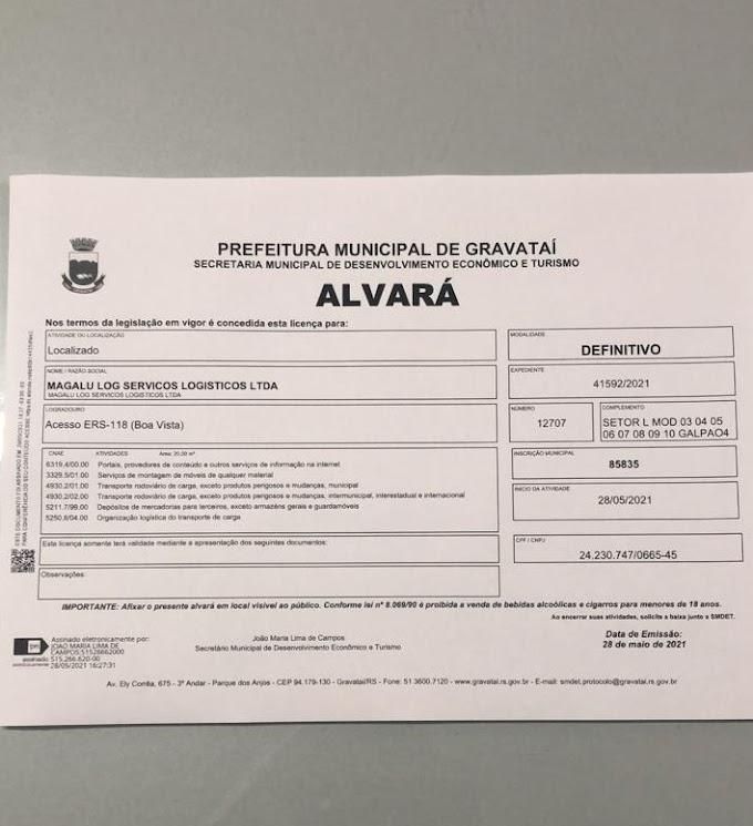 GRAVATAÍ   Alvará do centro de distribuição da Magalu é liberado em 24 horas pela Prefeitura