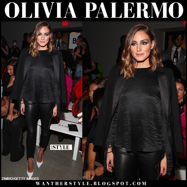 Olivia Palermo in black leather pants and white pumps manolo blahnik front row fashion week style september 11