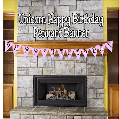Wish your guests a Happy Birthday at your Unicorn birthday party with this printable pennant banner that is a fun, perfect birthday party decoration.