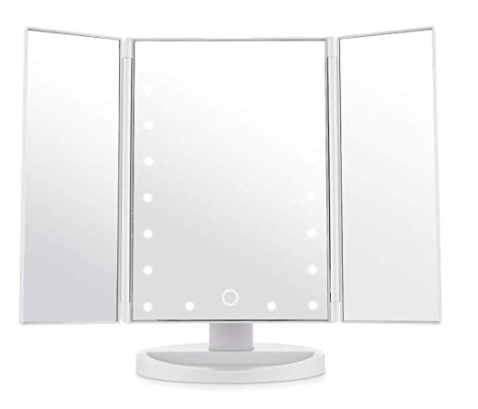 Espejo de Maquillaje plegable con aumento y tres espejos