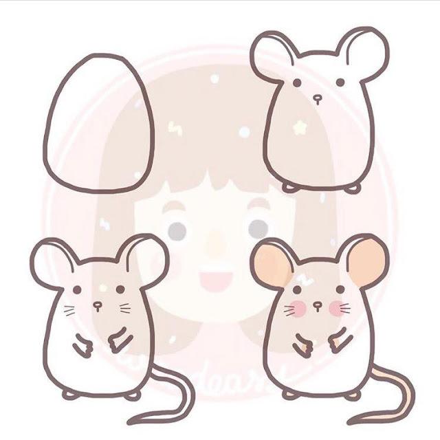 Cara menggambar tikus putih untuk anak-anak