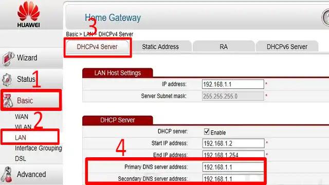 اعدادات راوتر هواوي Huawei
