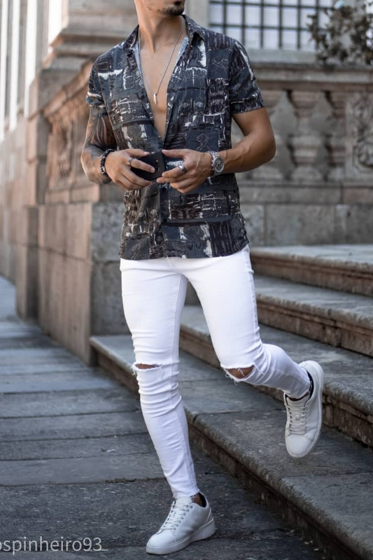 White jeans with other patterns