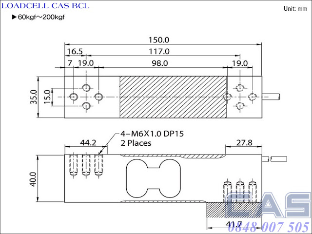 Loadcell-Cas-BCL-60-200kg