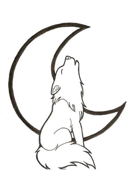 Hình tập tô màu con sói và mặt trăng