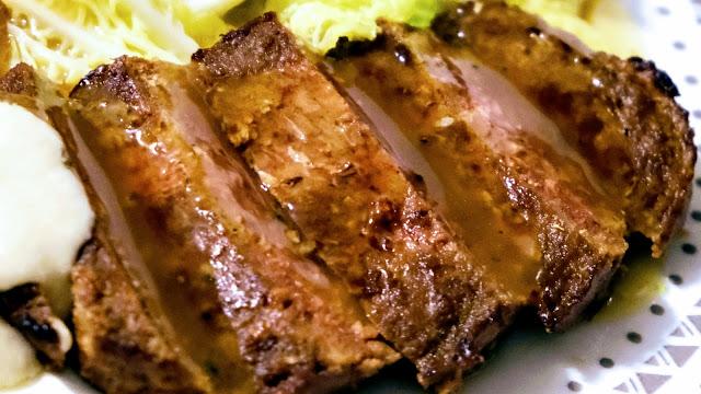 Vivera vegan steak sliced in gravy