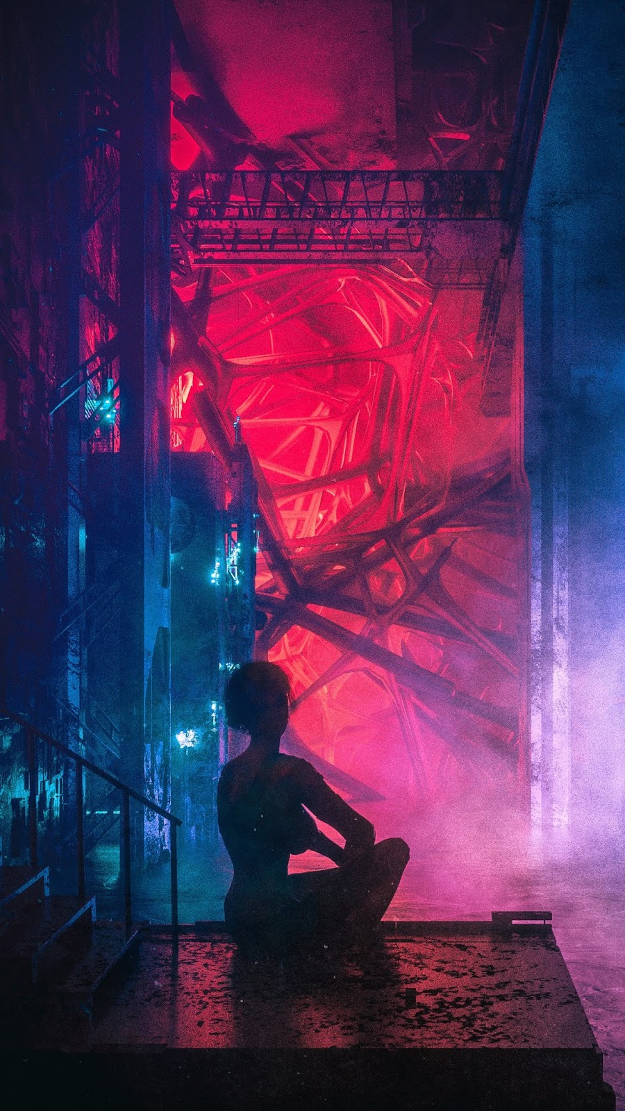cyberpunk girl silhuete red purple and blue light wallpaper hd 1080 x 1920 pixel