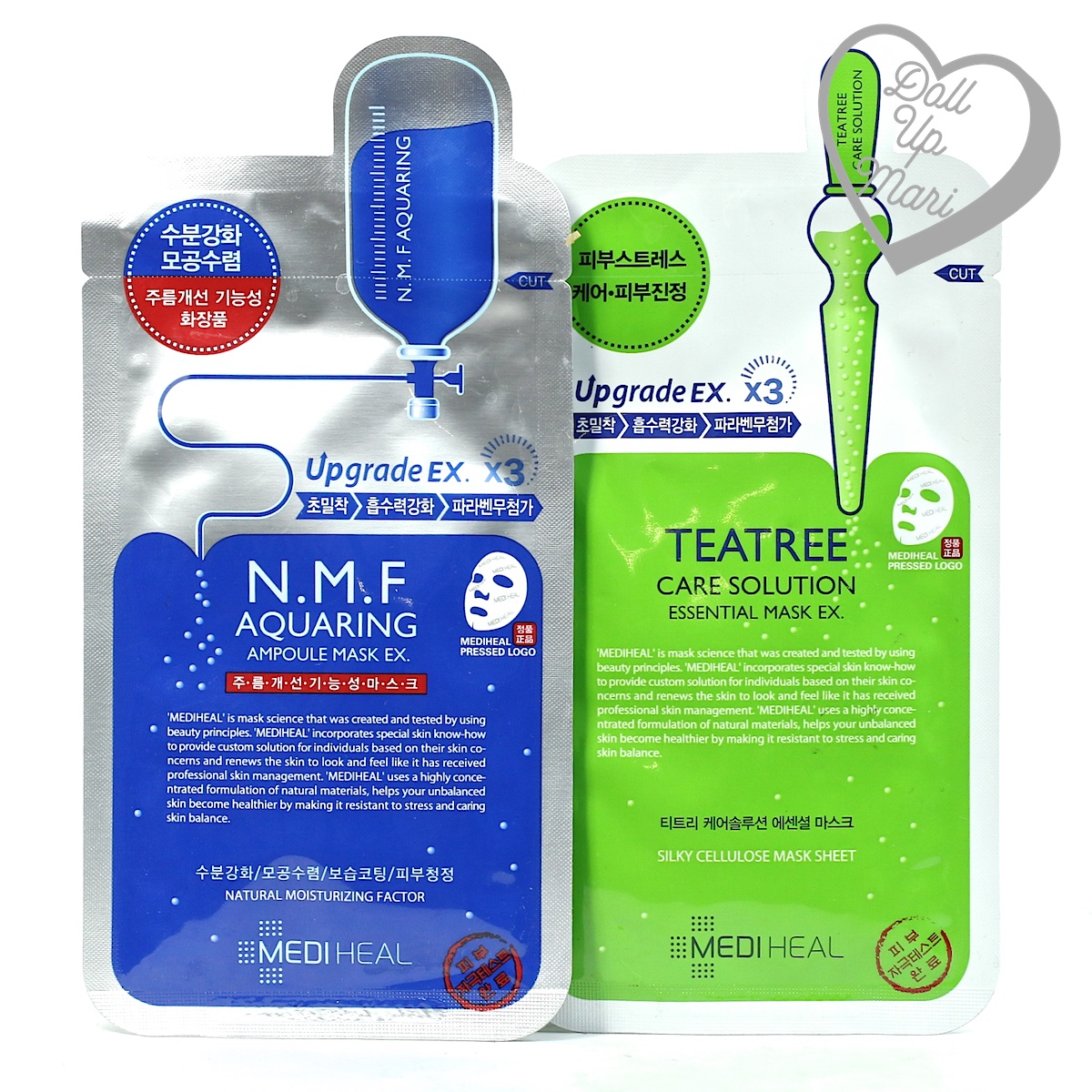 Pack Shot of Mediheal NMF and TeaTree Solution Mask Sheets